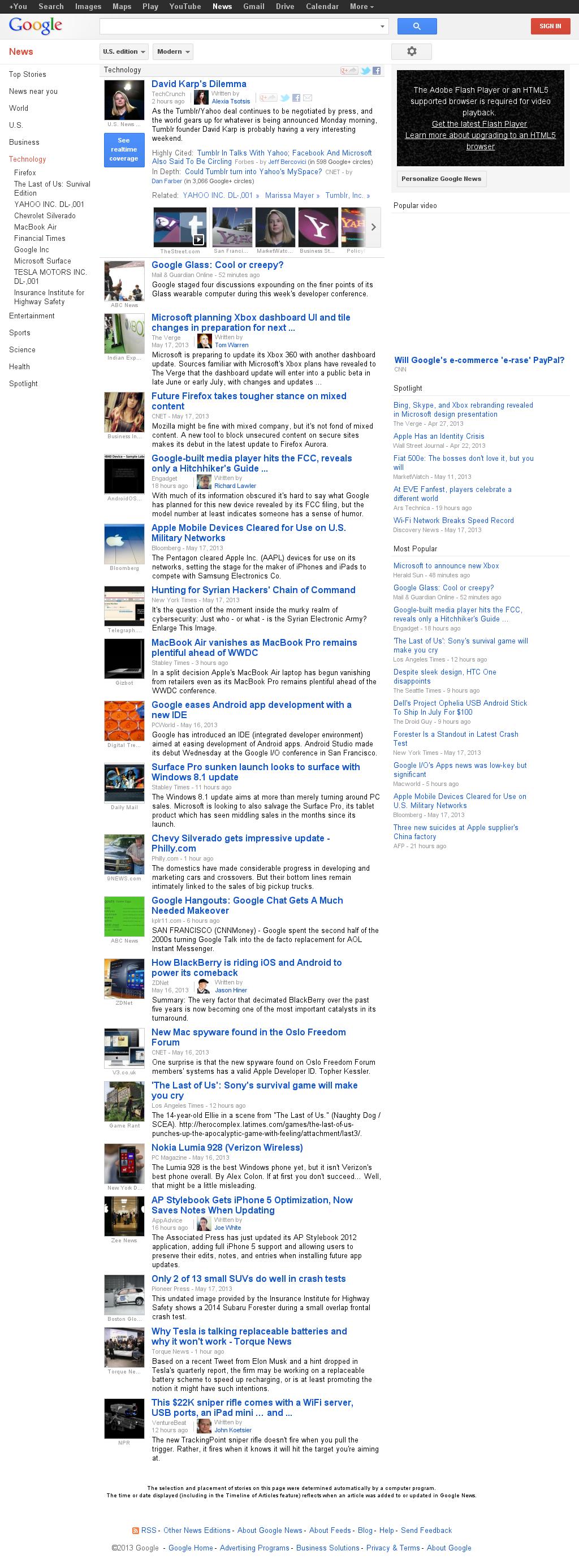 Google News: Technology at Sunday May 19, 2013, 8:07 a.m. UTC