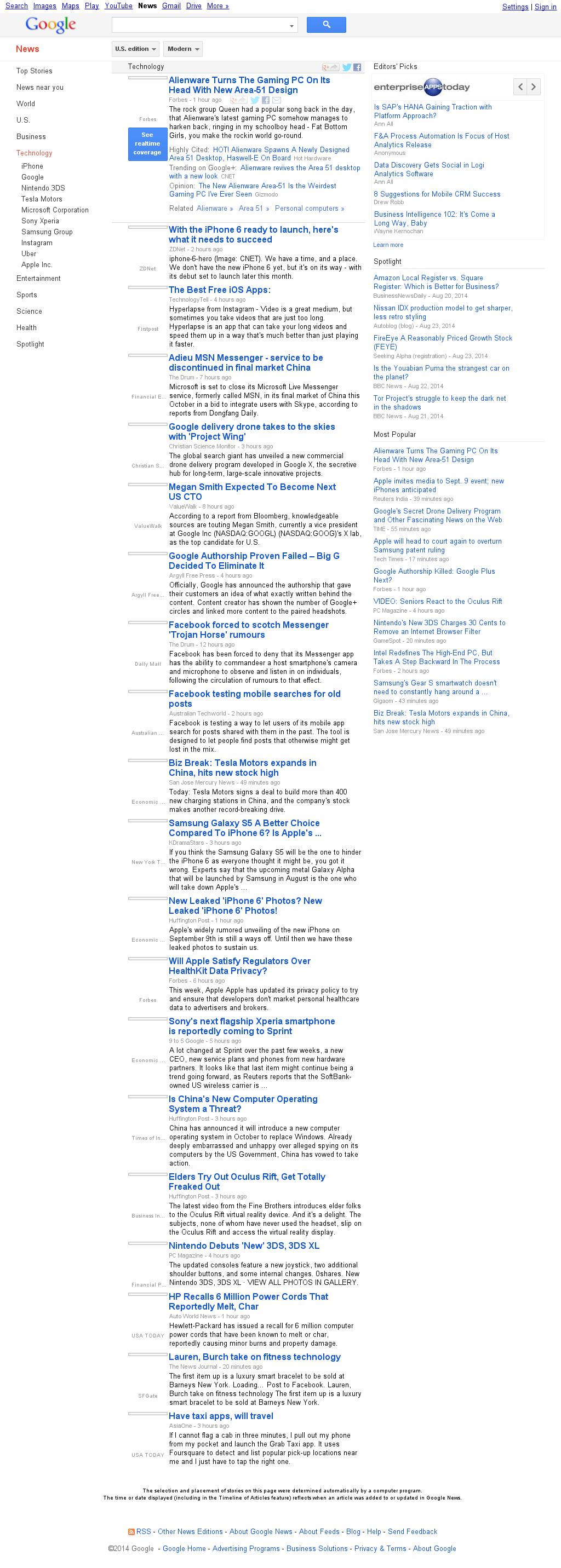 Google News: Technology at Friday Aug. 29, 2014, 10:07 p.m. UTC